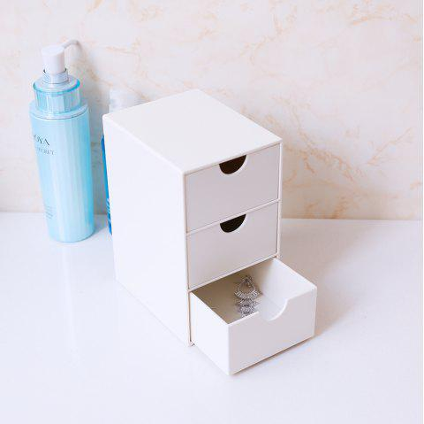Small Three-Drawer Desktop Cosmetics Jewelry Storage Box - WHITE 8.7X11X15CM
