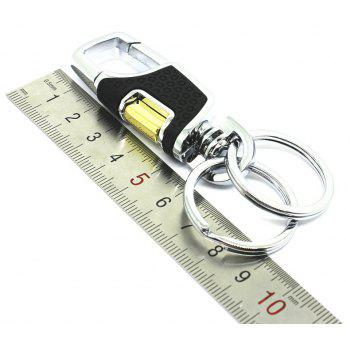 Upmarket Decoration Zinc Alloy Key Chain with 2 Rings - BLACK