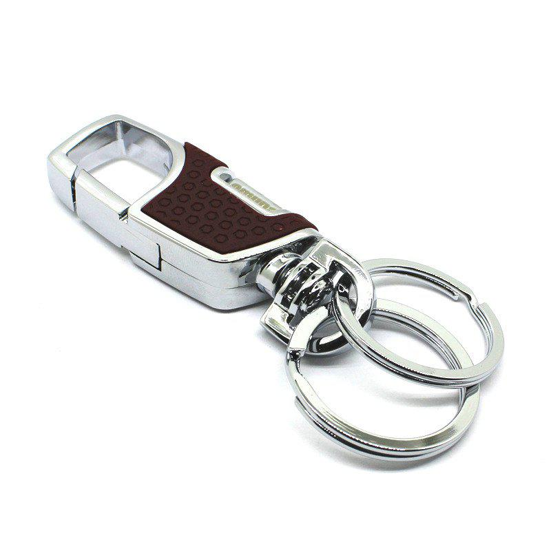 Upmarket Decoration Zinc Alloy Key Chain with 2 Rings - BROWN
