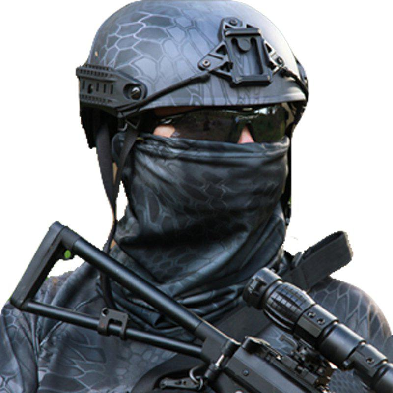 Camouflage Sports Elastic Variety Breathable Protective Concealed Collar Mask for Men and Women - PYTHON MUTE BLACK