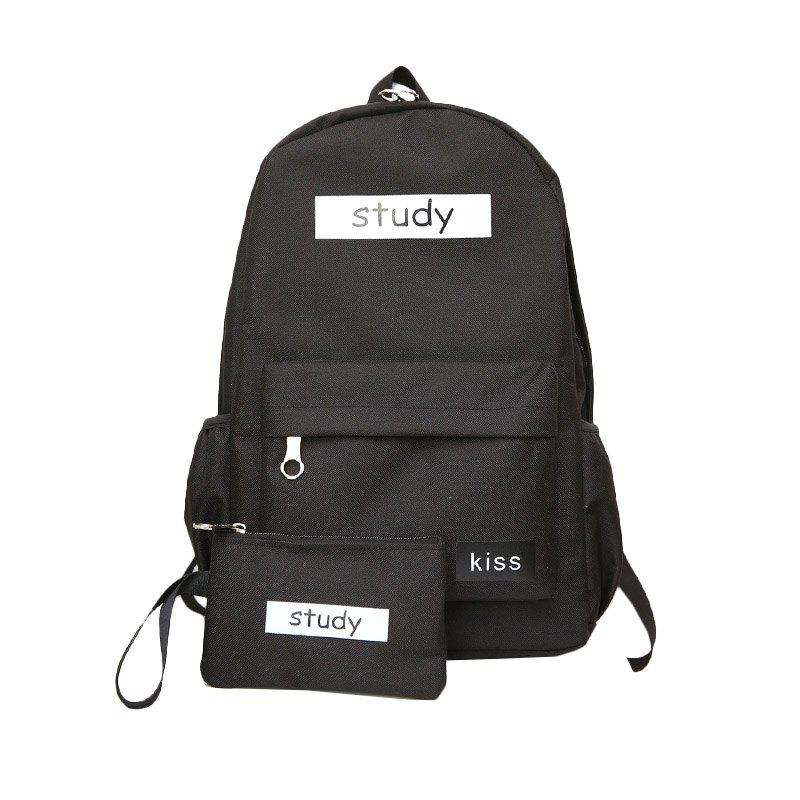Lash Package Pure Color Backpack Student - BLACK