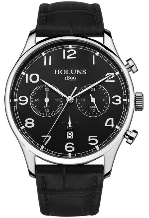 HOLUNS 4605 Fashionable Commercial Waterproof Quartz Watch - BLACK BAND BLACK DIAL SILVER CASE