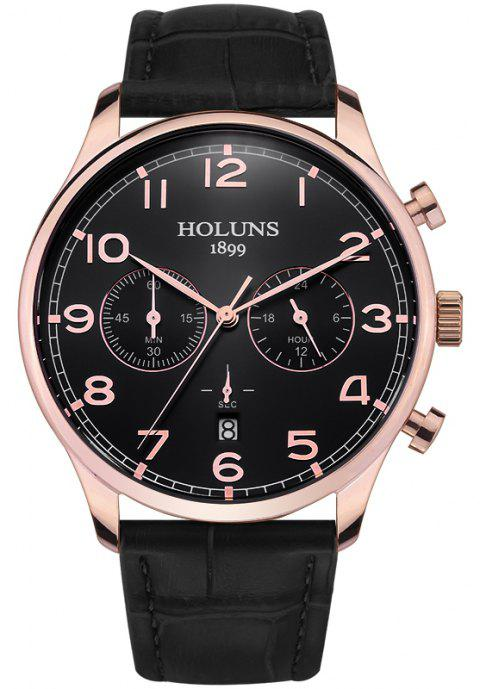 HOLUNS 4605 Fashionable Commercial Waterproof Quartz Watch - BLACK BAND BLACK DIAL ROSE GOLD CASE