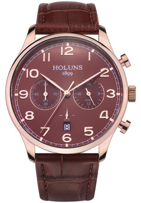 HOLUNS 4605 Fashionable Commercial Waterproof Quartz Watch - BROWN BAND BROWN DIAL ROSE GOLD CASE