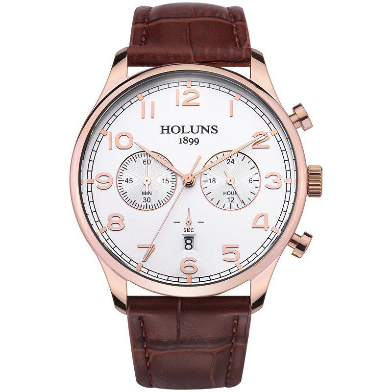 HOLUNS 4605 Fashionable Commercial Waterproof Quartz Watch - BROWN BAND WHITE DIAL