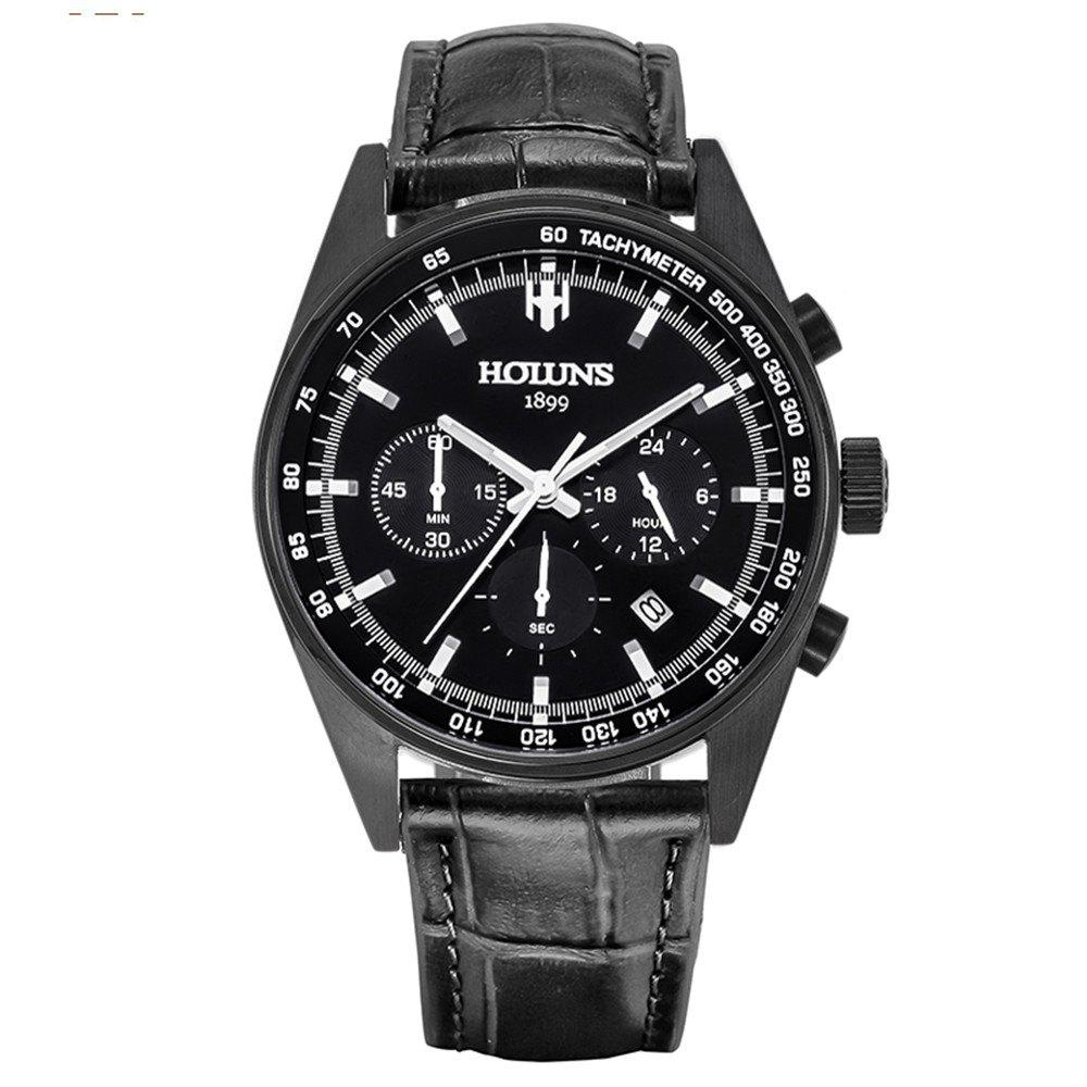 HOLUNS 1340 Leisure Business Waterproof Quartz Men Watch - BLACK BAND BLACK DIAL BLACK CASE