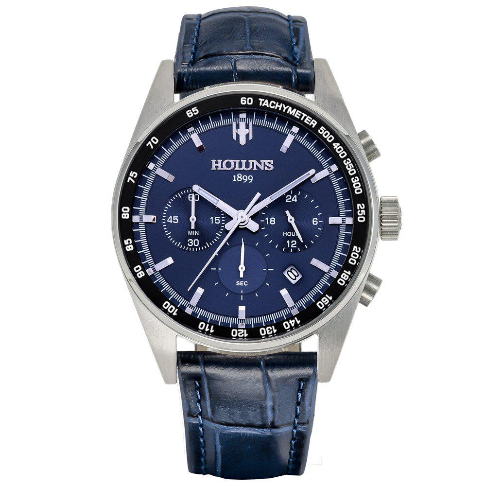 HOLUNS 1340 Leisure Business Waterproof Quartz Men Watch - BLUE BAND BLUE DIAL SILVER CASE