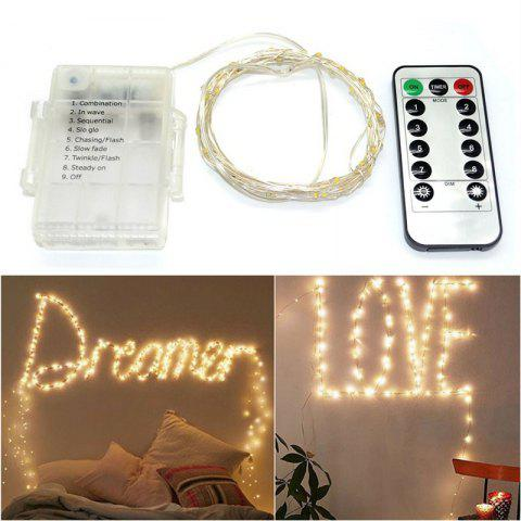 1PC 5M/10M 50/100 LEDs Battery Operated Waterproof IP65 Silver Wire String Light Party Decor Lamp With Remote Controller - WARM WHITE LENGTH -10M