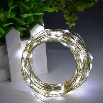 1PC 5M/10M 50/100 LEDs Battery Operated Waterproof IP65 Silver Wire String Light Party Decor Lamp With Remote Controller - WHITE LIGHT LENGTH -10M