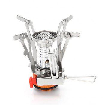 Portable Ultralight Mini Pocket Camping Stove with Piezo Ignition for Hiking Backpacking Picnic Cookware - SILVER