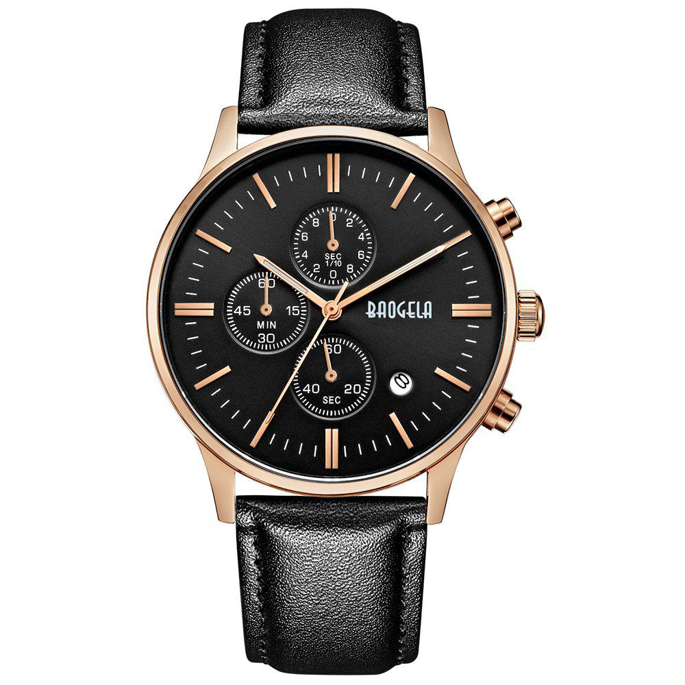 Baogela 1611 Multi-functional Male Leather Band Fashion Quartz Watch - ROSE GOLD