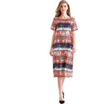 Crepe Print Casual Loose Dress for Women - BLACK XL