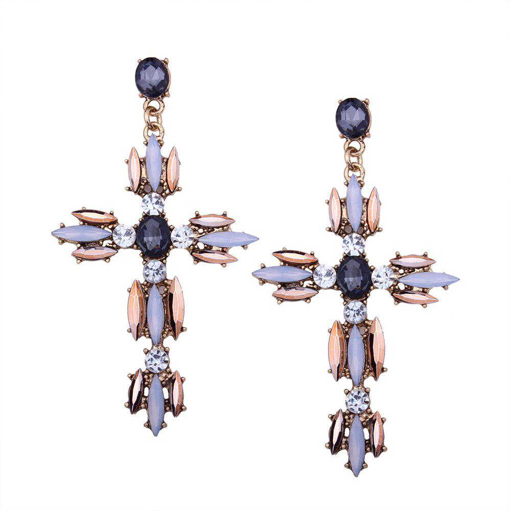 Cross Rhinestone Shiny Earrings - CHAMPAGNE