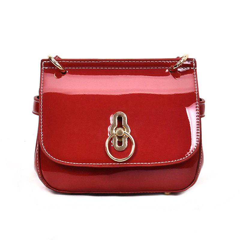 Sac à bandoulière simple couleur unie brillante - Rouge