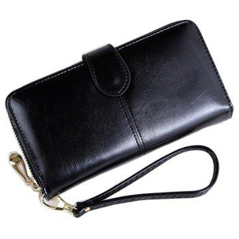 Women Long Wallet Large-capacity Zipper Purse - BLACK HORIZONTAL