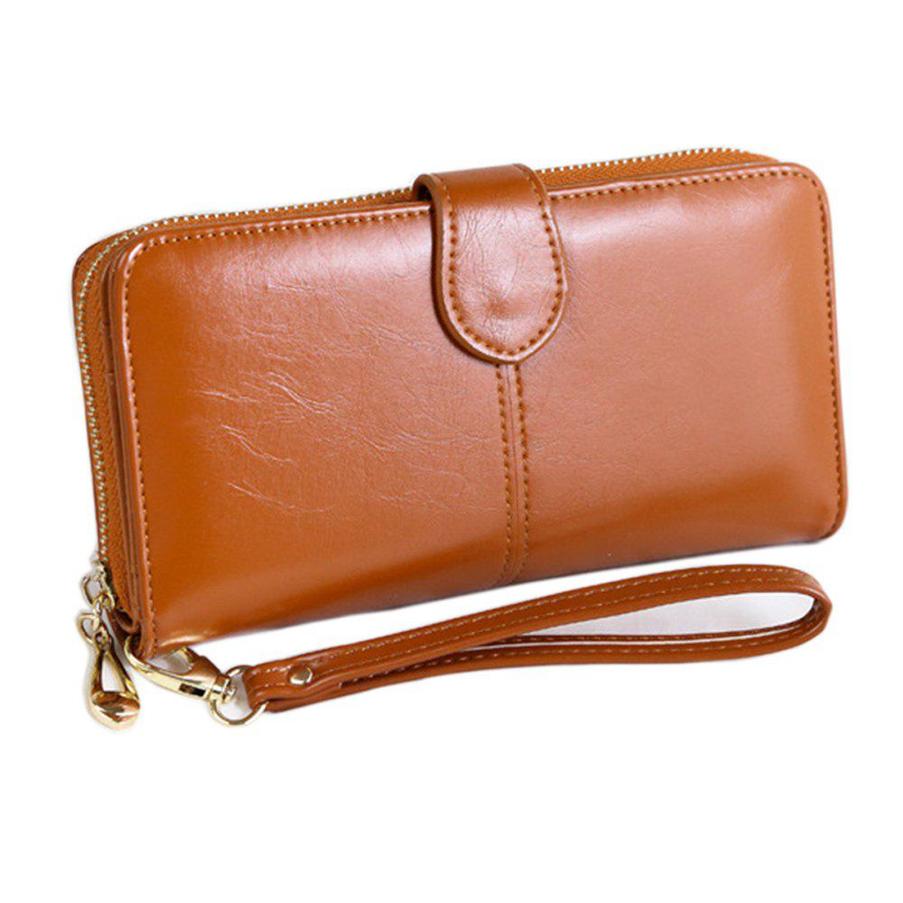 Women Long Wallet Large-capacity Zipper Purse - BROWN HORIZONTAL