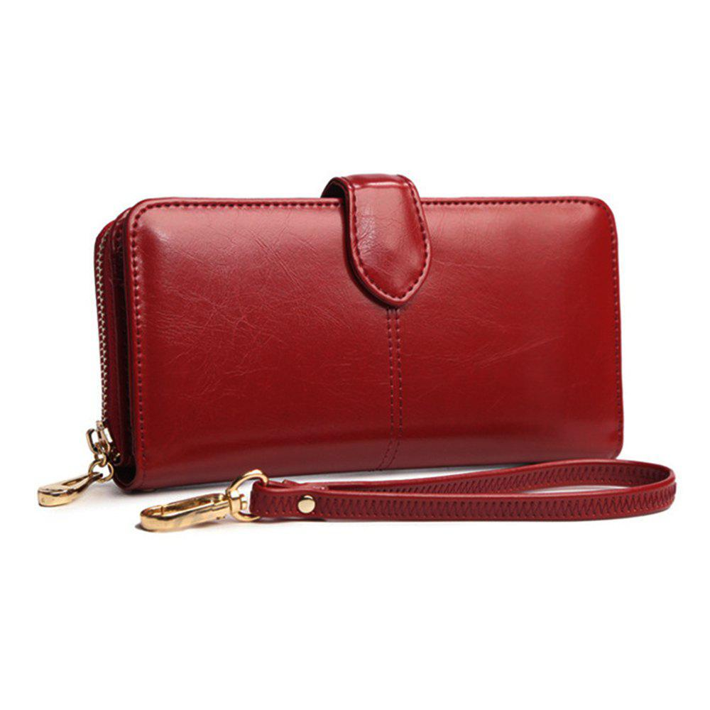 Women Long Wallet Large-capacity Zipper Purse - WINE RED HORIZONTAL