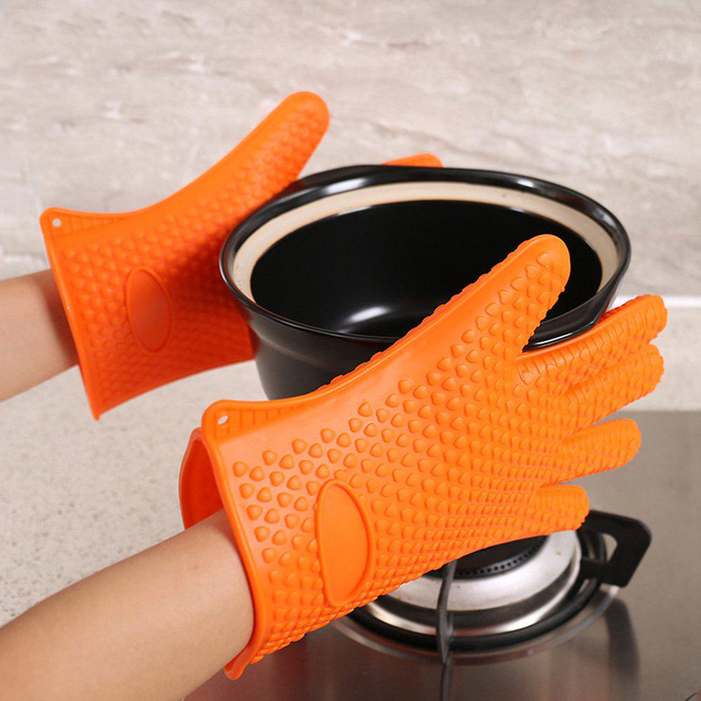 Kitchen Heat Resistant Silicone Gloves 1PCS - ORANGE