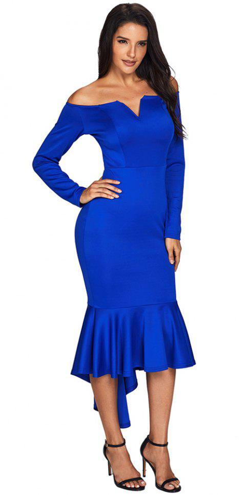 Sexy Off Shoulder Long Sleeve Mermaid Dress - BLUE XL