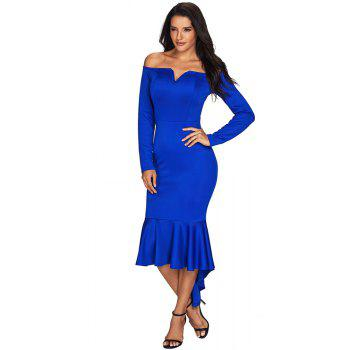 Sexy Off Shoulder Long Sleeve Mermaid Dress - BLUE L