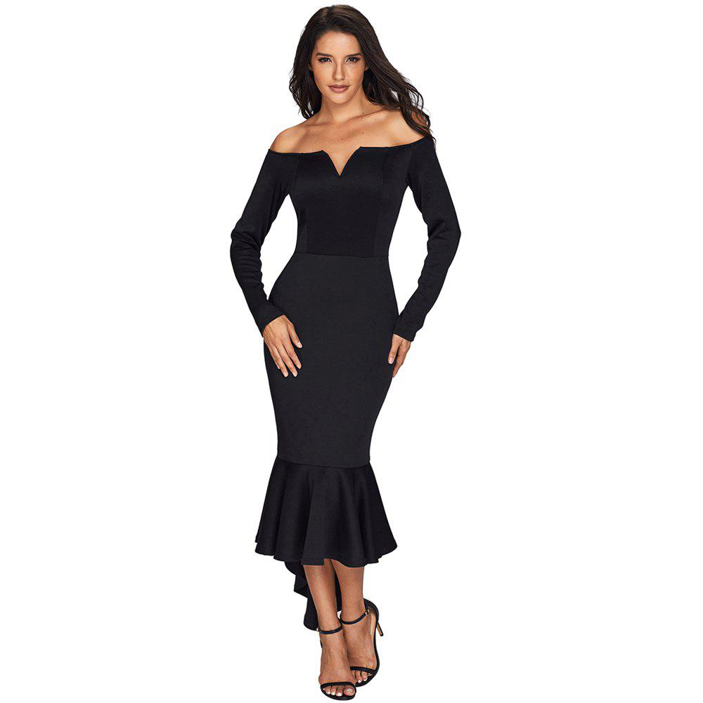 Sexy Off Shoulder Long Sleeve Mermaid Dress - BLACK L