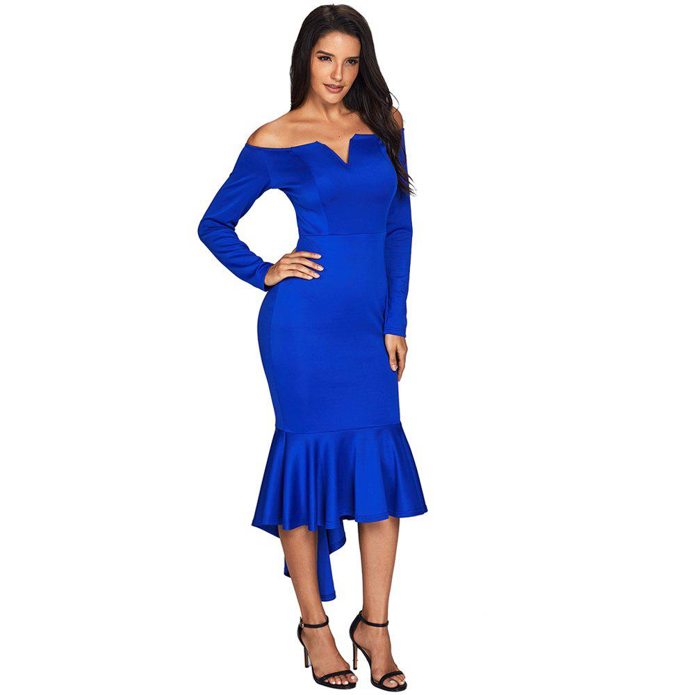 Sexy Off Shoulder Long Sleeve Mermaid Dress - BLUE M