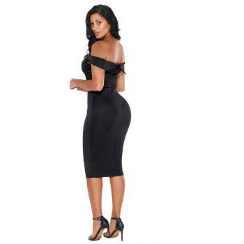 Rhinestone Waistband Off The Shoulder Midi Dress - BLACK L