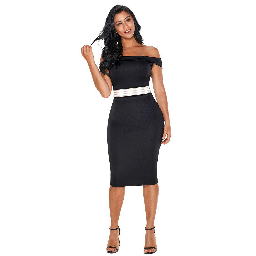 Rhinestone Waistband Off The Shoulder Midi Dress - BLACK M