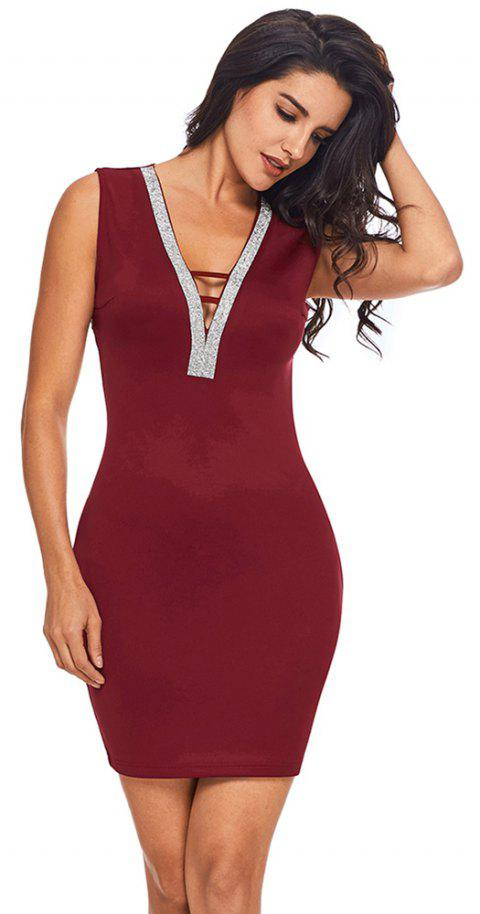 V Neck Hollow-out Silver Trim Bodycon Prom Dress - BURGUNDY M