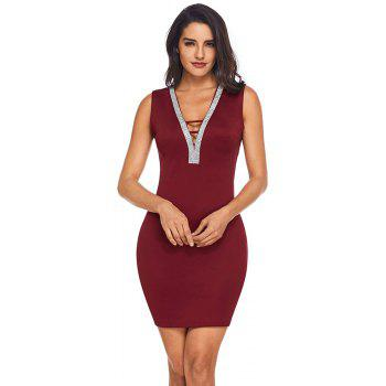 V Neck Hollow-out Silver Trim Bodycon Prom Dress - BURGUNDY L