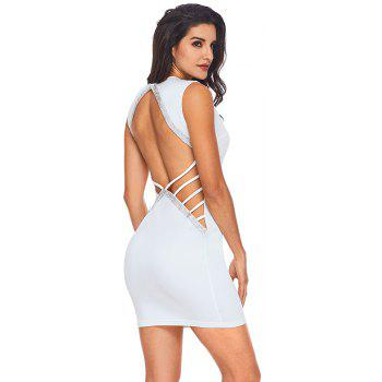 V Neck Hollow-out Silver Trim Bodycon Prom Dress - WHITE S