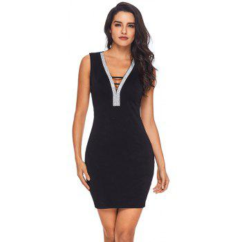 V Neck Hollow-out Silver Trim Bodycon Prom Dress - BLACK L