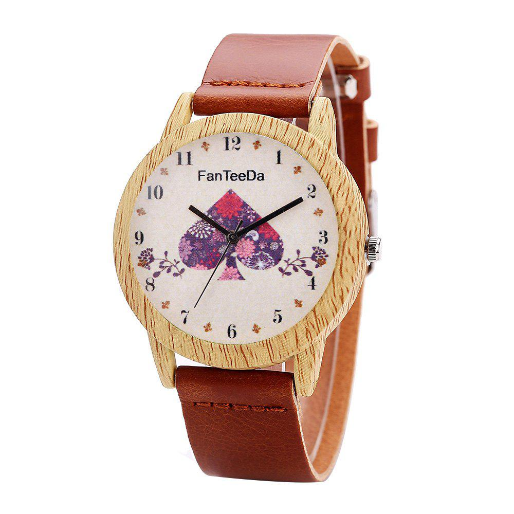 Fanteeda FD059 Unisex Fashion Wooden Case PU Band Quartz Watch - BROWN