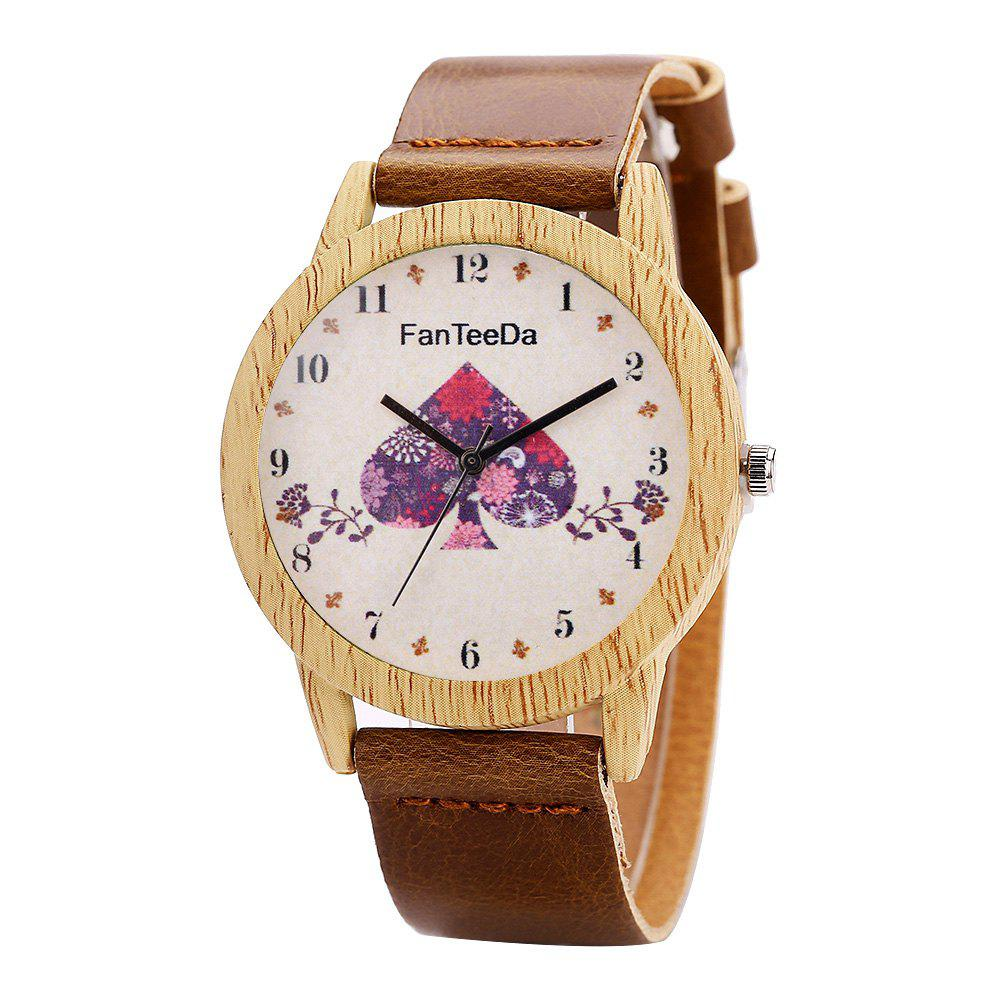 Fanteeda FD059 Unisex Fashion Wooden Case PU Band Quartz Watch - COFFEE