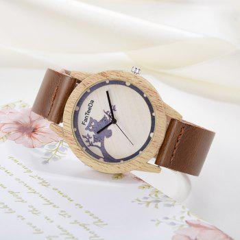 Fanteeda FD060 Unisex Fashion Wooden Case PU Band Quartz Watch - COFFEE