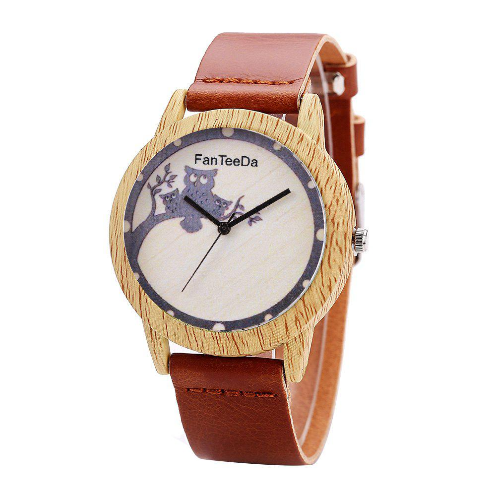 Fanteeda FD060 Unisex Fashion Wooden Case PU Band Quartz Watch - BROWN