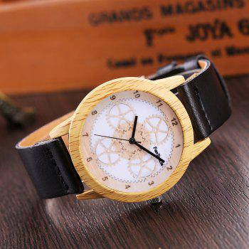 Fanteeda FD061 Unisex Fashion Wooden Case PU Band Quartz Watch - BLACK
