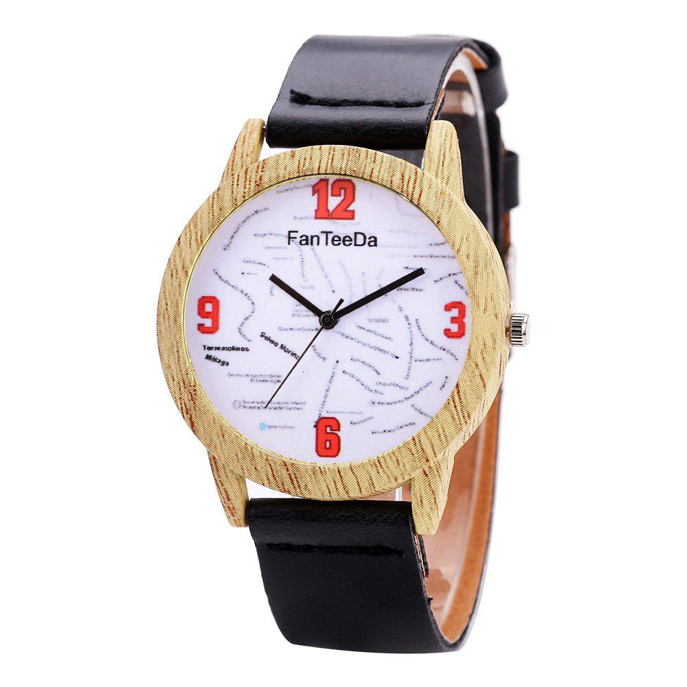 Fanteeda FD062 Unisex Fashion Wooden Case PU Band Quartz Watch - BLACK