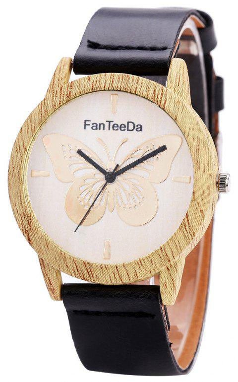 Fanteeda FD064 Unisex Fashion Wooden Case PU Band Quartz Watch - BLACK