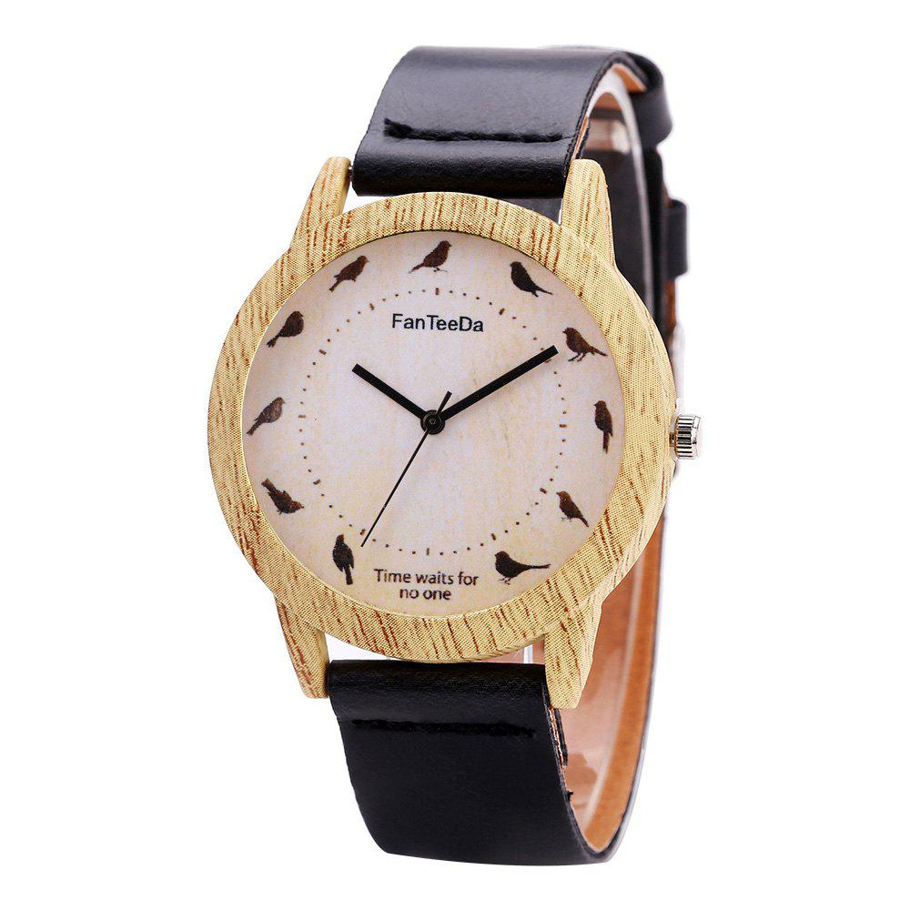 Fanteeda FD065 Unisex Fashion Wooden Case PU Band Quartz Watch - BLACK