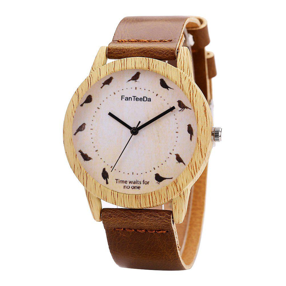 Fanteeda FD065 Unisex Fashion Wooden Case PU Band Quartz Watch - COFFEE