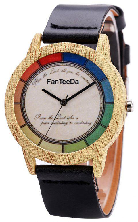 Fanteeda FD066 Unisex Fashion Wooden Case PU Band Quartz Watch - BLACK