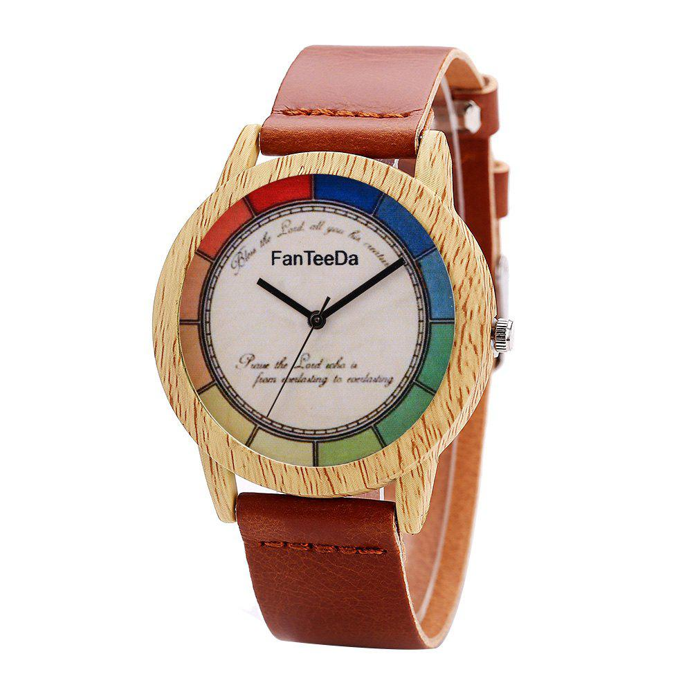 Fanteeda FD066 Unisex Fashion Wooden Case PU Band Quartz Watch - BROWN