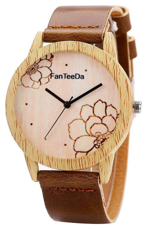Fanteeda FD069 Unisex Fashion Wooden Case PU Band Quartz Watch - COFFEE