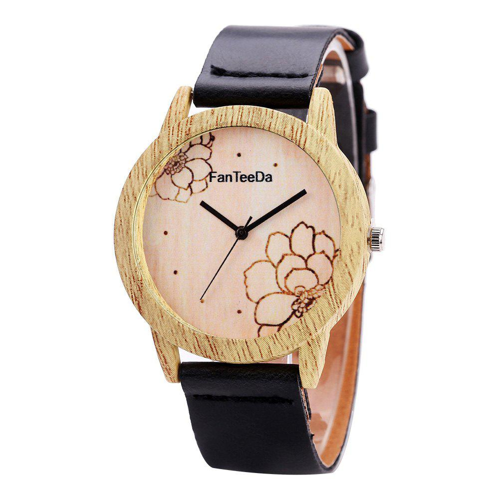 Fanteeda FD069 Unisex Fashion Wooden Case PU Band Quartz Watch - BLACK