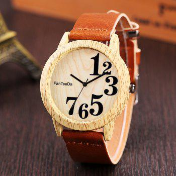 Fanteeda FD071 Unisex Fashion Wooden Case PU Band Quartz Watch - BROWN