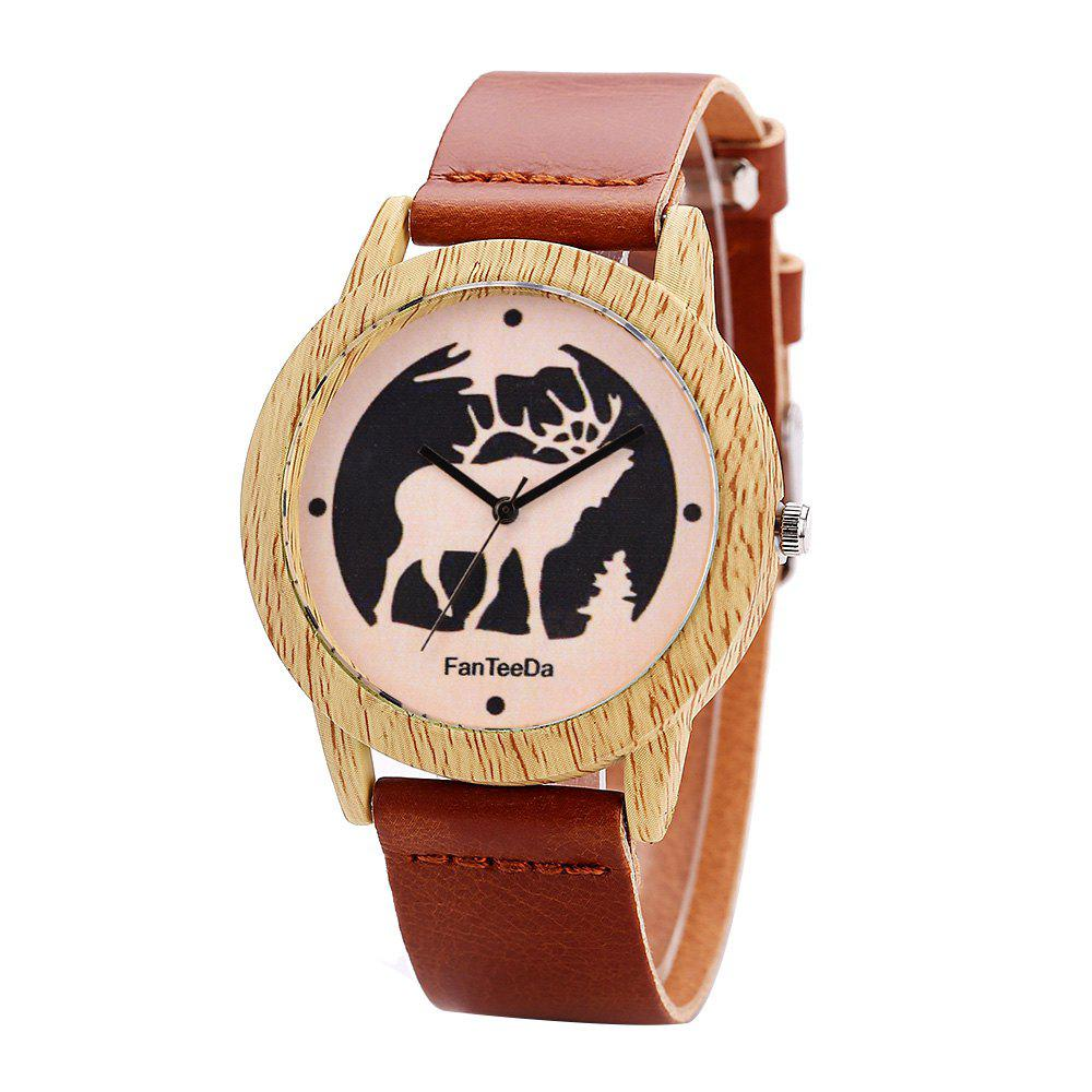 Fanteeda FD072 Unisex Fashion Wooden Case PU Band Quartz Watch - BROWN