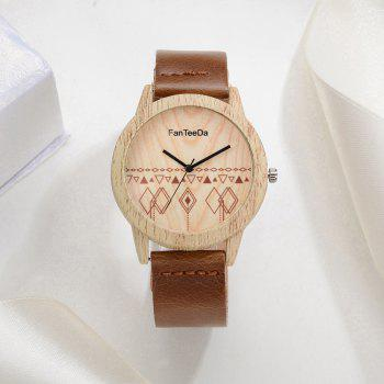 Fanteeda FD073 Unisex Fashion Wooden Case PU Band Quartz Watch - COFFEE