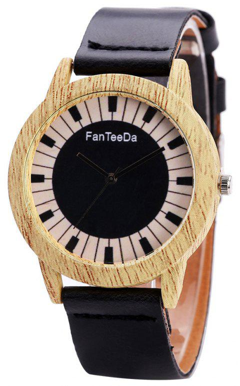 Fanteeda FD074 Unisex Fashion Wooden Case PU Band Quartz Watch - BLACK