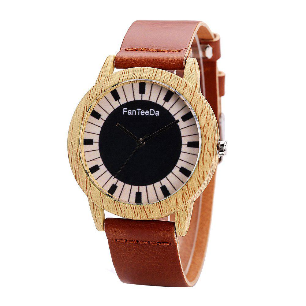 Fanteeda FD074 Unisex Fashion Wooden Case PU Band Quartz Watch - BROWN